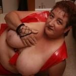 Horny granny in kinky PVC gear
