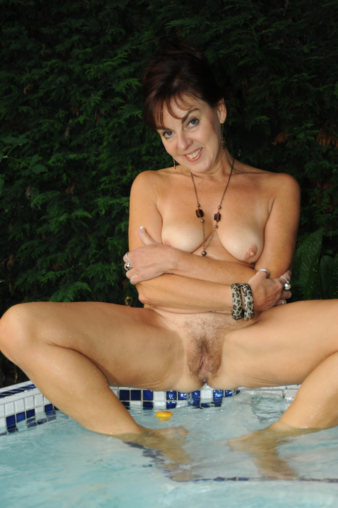English mature bathes her giant tits amp hairy pussy 7